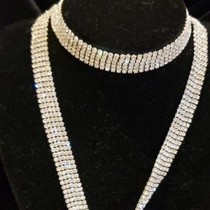 Long Rhinestone Wrap Necklace/Belt